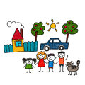 Happy family. Vector illustration Royalty Free Stock Photo