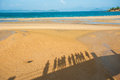 Happy family walking on the beach thailand Royalty Free Stock Image