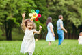 Happy family walking playing in the park Royalty Free Stock Photo