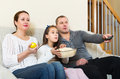 Happy family watching movie Royalty Free Stock Photo