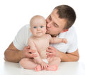 Happy family young father and child baby girl kissing and huggin hugging on white background Stock Photography
