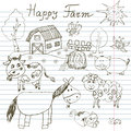 Happy farm doodles icons set. Hand drawn sketch with horse, cow, sheep pig and barn. childlike cartoony sketchy vector illustratio Royalty Free Stock Photo
