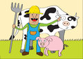 Happy farmer and friends Royalty Free Stock Photography