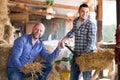 Happy Farmers Tedding Straw