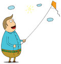 Happy fat man with kite Stock Image