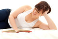 Happy fat student girl with book Royalty Free Stock Photo