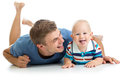 Happy father and baby son having fun pastime have Royalty Free Stock Photography