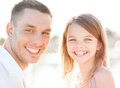 Happy father and child girl having fun summer holidays children people concept Stock Image