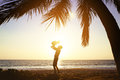 Happy father daughter fun sunset palms Royalty Free Stock Photo