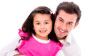 Happy father and daughter isolated over a white background Royalty Free Stock Photography