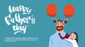 Happy Father Day Family Holiday, Daughter Embracing Dad Greeting Card Royalty Free Stock Photo