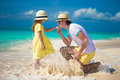 Happy father with his little daughter enjoying beach vacation kid Stock Images