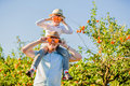 Happy father with his young son have fun on citrus Royalty Free Stock Photo