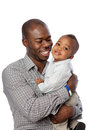 Happy Father Holding Baby High Key Portrait Stock Image