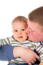 The happy father kisses baby isolated on white background Royalty Free Stock Photos