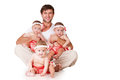 Happy father and little daughter triplets Royalty Free Stock Photo