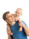 Happy father playing with baby son isolated on white Royalty Free Stock Photo