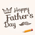 Happy father s day on background with doodle objects vector illustration with text and yellow pencil Royalty Free Stock Images