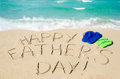 Happy father`s day background on the Miami beach Royalty Free Stock Photo