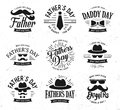 Happy Father`s Day Design Collection. Set of black color vintage style Father logo on light grunge background. Vector
