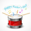 Happy father s day illustration of music tune coming out of drum Stock Image
