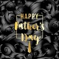 Happy Father`s Day vector greeting card. Gold message on black abstract backdrop. Vinil or oil waves, Striped background Royalty Free Stock Photo