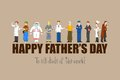 Happy father s day vector illustration of with different professional Stock Photography