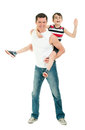 Happy father and son having fun isolated on white Royalty Free Stock Photo