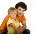 Happy father and son play isolated on white Royalty Free Stock Photo