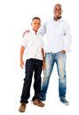 Happy father and son portrait of a smiling isolated over white Royalty Free Stock Photography