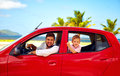 Happy father and son traveling in the car on summer vacation together Royalty Free Stock Photo