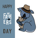 Happy fathers day card, Dad and kid animals