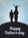 Happy fathers day card with family vector illustration Royalty Free Stock Images