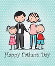 Happy fathers day card with family vector illustration Royalty Free Stock Photography