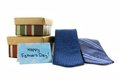 Happy fathers day card with gift boxes and ties over white Stock Image