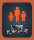 Happy fathers day card with offspring vector illustration Royalty Free Stock Photography
