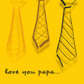 Happy fathers day concept banner flyer or poster design with sketch of neckties and text love you papa on yellow background Royalty Free Stock Image