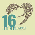 Happy fathers day concept for flyer banner or background with design of a father holding his child in a heart shape with text th Royalty Free Stock Image
