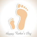 Happy fathers day concept foot prints of a father and child creative for Royalty Free Stock Photography