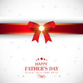 Happy fathers day concept greeting card with red ribbon Stock Photos