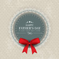 Happy fathers day concept greeting or gift card with red ribbon Royalty Free Stock Photo