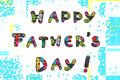 Happy fathers day father s greeting card with pixels funny letters text Royalty Free Stock Photo