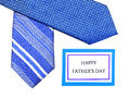 Happy fathers day father tag with blue ties over white Stock Images