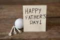 Happy fathers day message with sports equipments Royalty Free Stock Photo