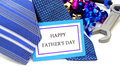 Happy fathers day tag with neckties tools and ribbon Stock Images