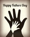 Happy fathers day with two hands over vintage background Royalty Free Stock Images