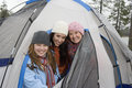 Happy Female Campers Enjoying Together Stock Image
