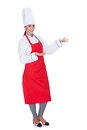 Happy Female Chef Gesturing Stock Photography