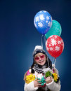 Happy Female Child with balloons Royalty Free Stock Image