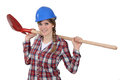 A happy female construction worker Stock Photo